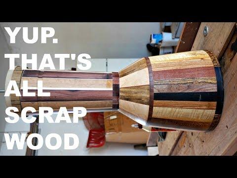 DJEMBE BUILD w/ SIMPLE TOOLS & SCRAP WOOD, Part 2