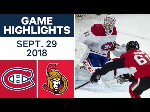 NHL Pre-season Highlights | Canadiens vs. Senators - Sept. 29, 2018