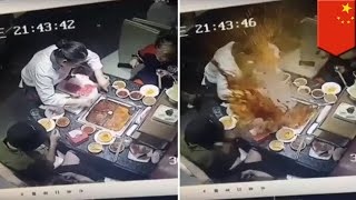 Hot pot blows up in waitress' face from lighter in soup - TomoNews