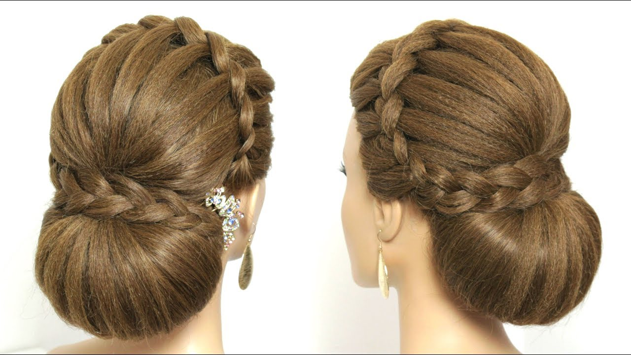 Beautiful Bridal Hairstyle For Long Hair: Beautiful Wedding Bun Hairstyle For Long Hair