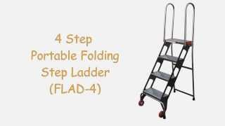4 Step Portable Folding Step Ladder (flad-4), Heavy Duty