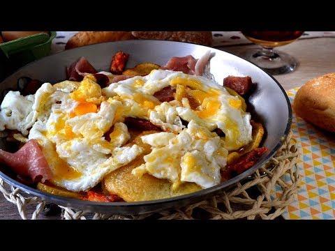 Huevos estrellados con jamón y chorizo, receta fácil y deliciosa