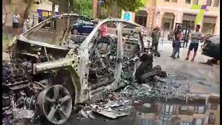 Поджог авто на Армейской в Одессе машина выгорела полностью фото  видео
