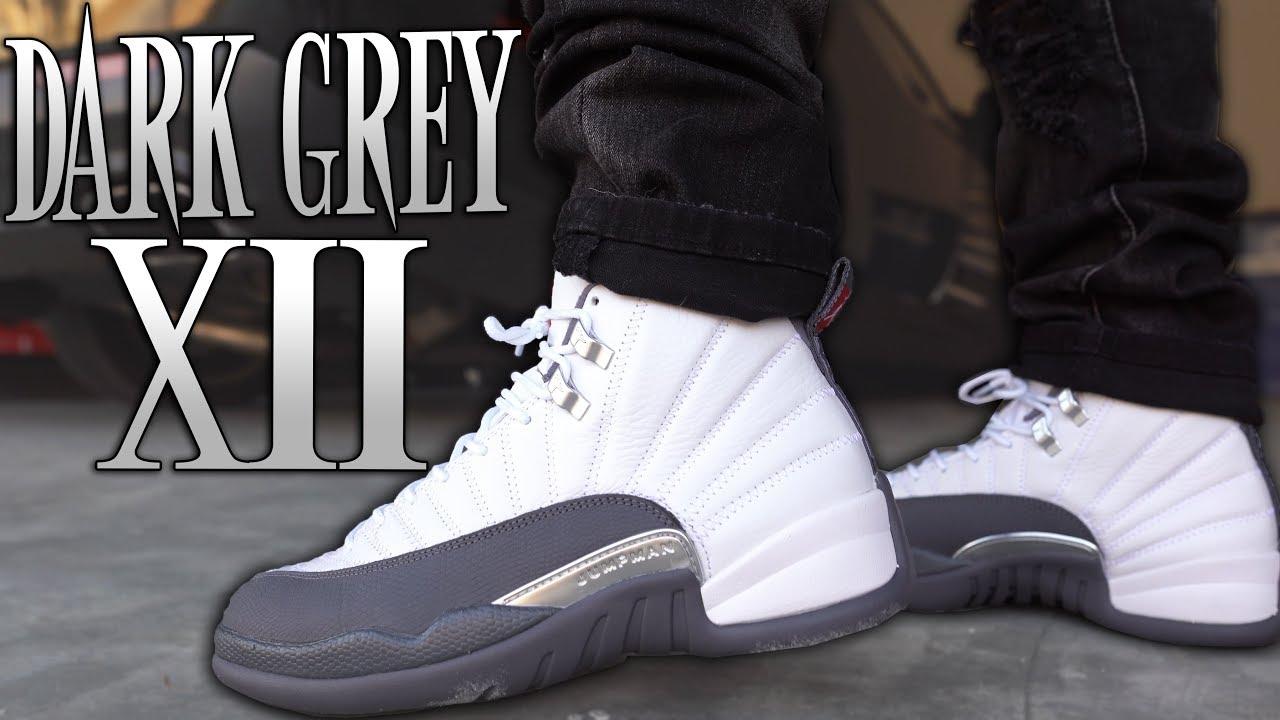 white and grey jordans 12