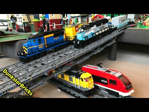 LEGO Train Track Setup #9! Passenger and Cargo Trains, and 5 MOC Bridges!
