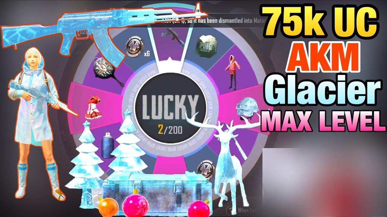UPGRADE AKM GLACIER LV7 WITH 75.000 UC | OPENING ALL THE GLACIER SKINS | PUBG MOBILE