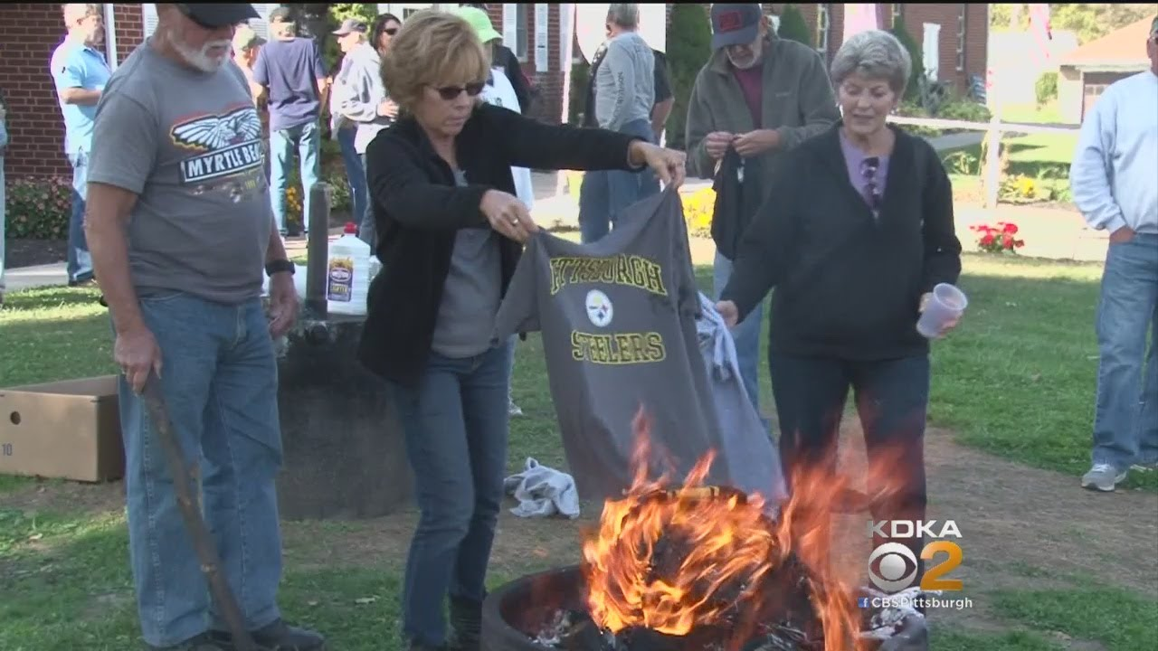 171ffdcec92 Steelers Gear Burned Outside VFW In Response To National Anthem Controversy