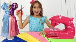 София шьет Новое платье и собирается на Вечеринку Принцесс   Sofia playing with Toy Sewing machine