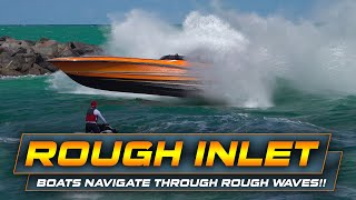 Boats Navigate Rough Waves at Haulover Inlet!