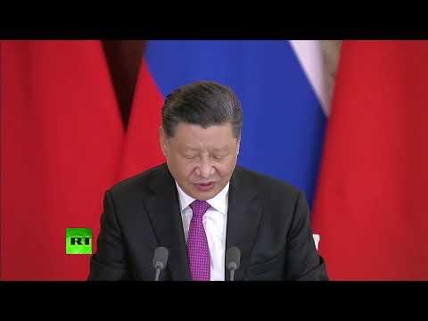 Смотреть Путин и председатель КНР Си Цзиньпин подводят итоги переговоров — LIVE онлайн