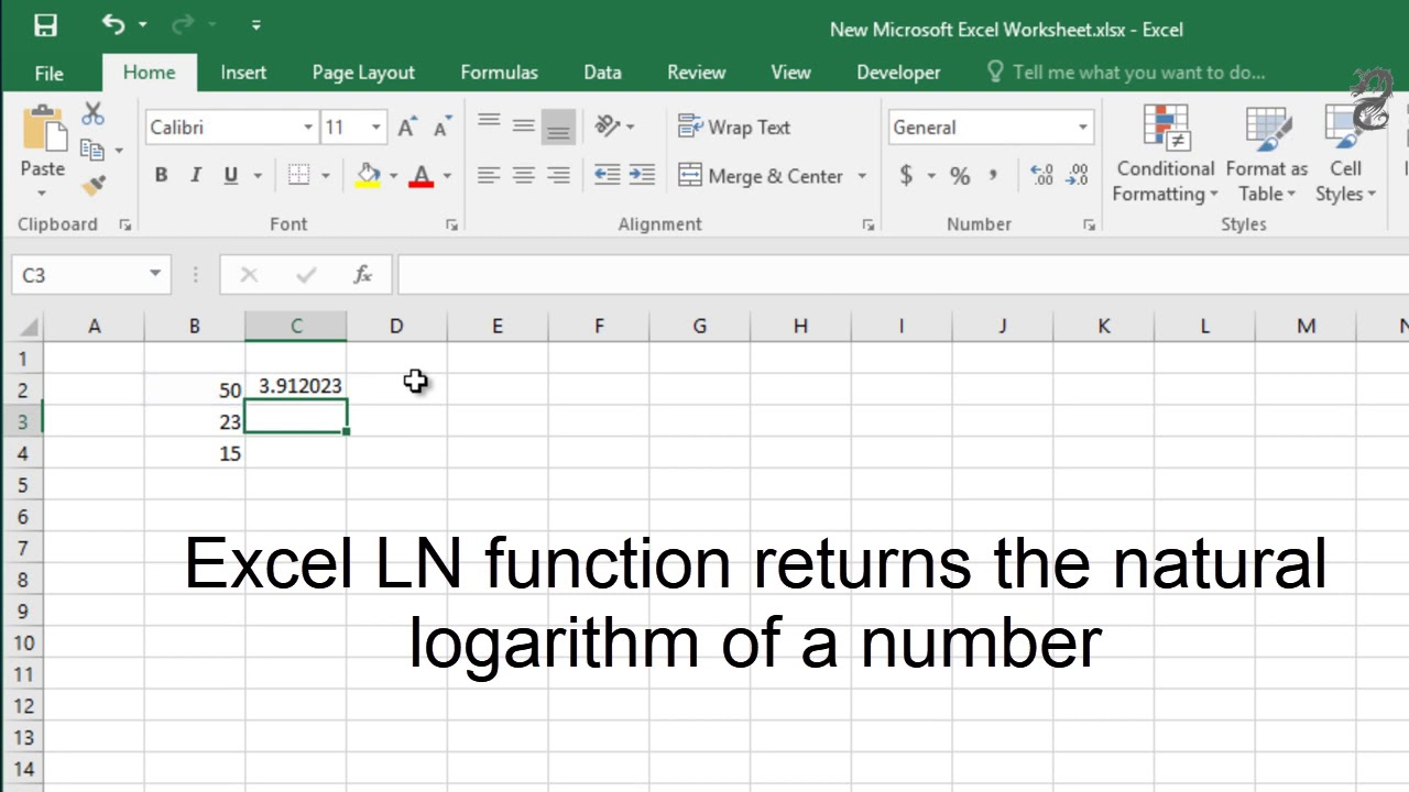How to use LN Function in Excel How to return the natural logarithm of a  number