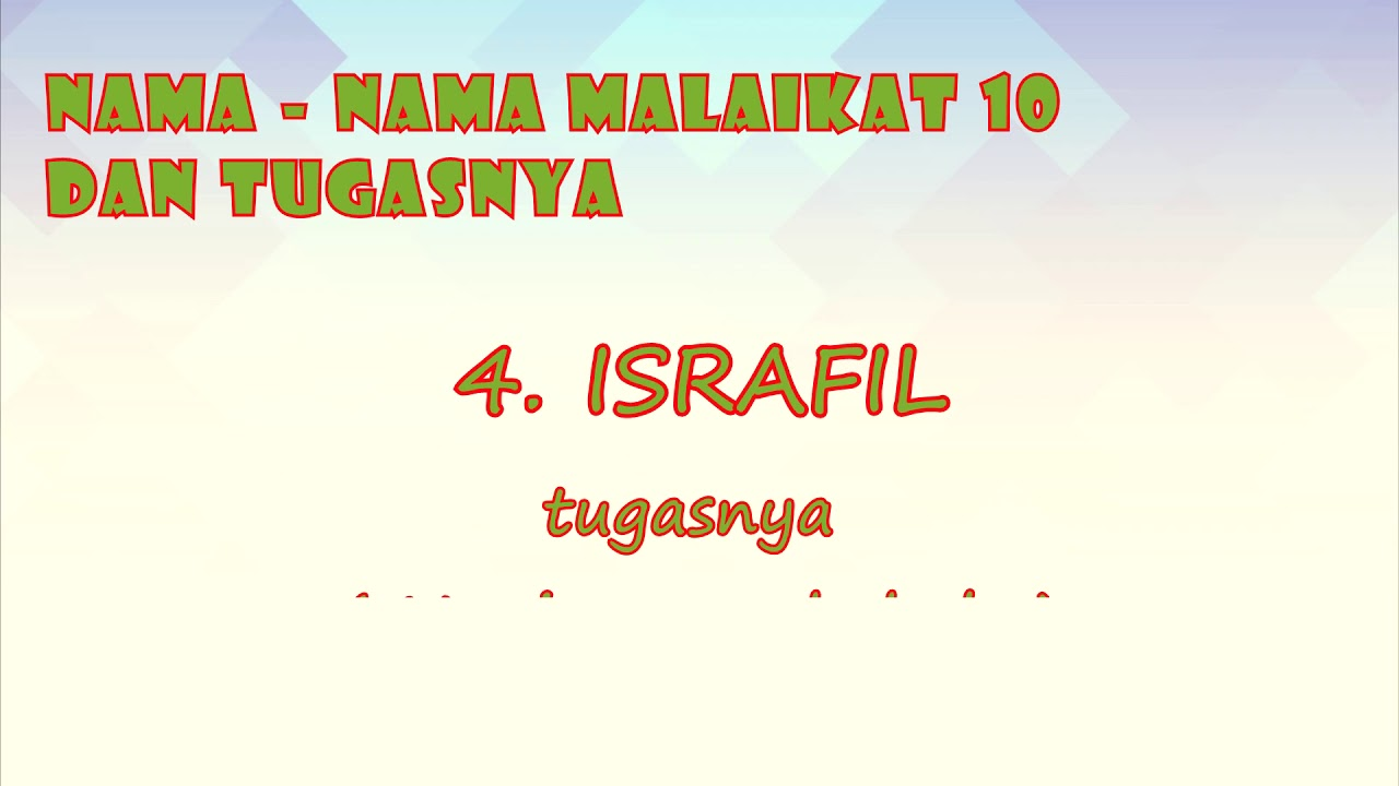 Nama Nama Malaikat 10 Dan Tugasnya By Natari Photo Youtube