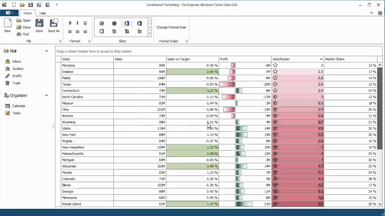 DevExpress WinForms Grid: Conditional Formatting