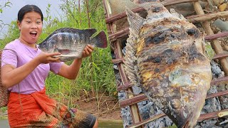 beautiful girl meet tilapia in Water - Yummy grilled fish eating delicious - Life Skills EP 17