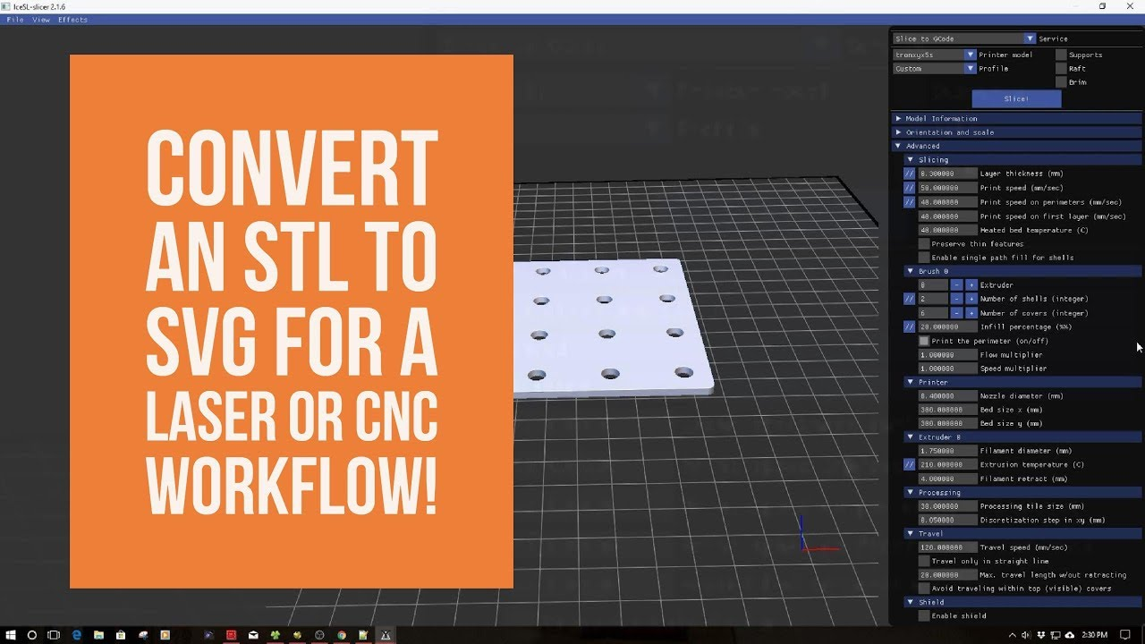 iceSL Slicer - Converting an STL to SVG for a Laser or CNC Workflows!