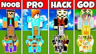 Minecraft Family Girl Statue House Build Challenge - Noob Vs Pro Vs Hacker Vs God In Minecraft
