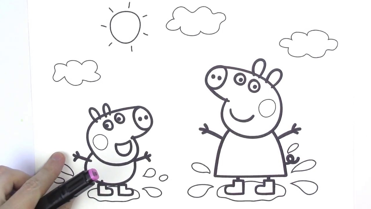Peppa Pig And George Love Jumping In Muddy Puddles How To Draw