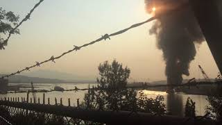 Barge Fire On The Fraser River