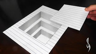 How to Draw a 3D Cutout Hole in Line Paper - Trick Art