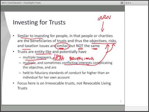 Trust Education: Show Me the Money! Investing for Trusts by National Advisors Trust Company, FSB