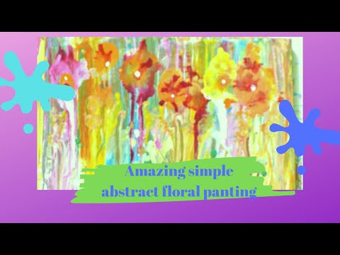 Amazing simple floral abstract painting /acrylic pouring techniques for beginners /satisfying video