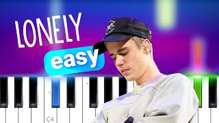 Justin Bieber, Benny Blenco - Lonely  | EASY PIANO TUTORIAL