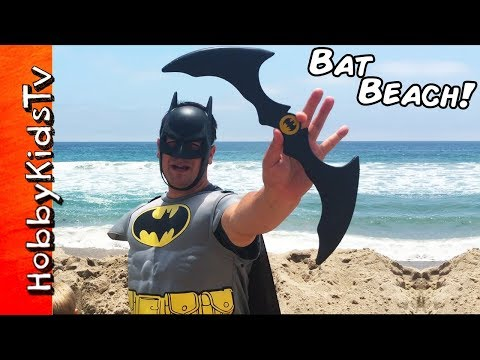 Batman Ocean SCAVENGER HUNT! Batarang + Superhero Surprises at the Sea Family Beach Fun HobbyKidsTV