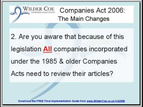 UK Companies Act 2006: The Final Implementation