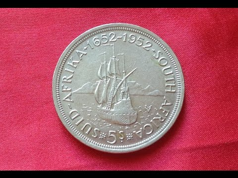 South Africa SILVER 5 SHILLINGS 1952 George VI - 300th Anniversary - Founding of Capetown
