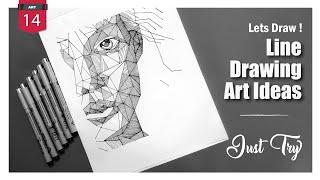 Line Drawing Art  Ideas✏️ | Line shades | Line Portrait | zentangle Doodle |
