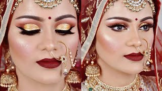 Full HD Royal INDIAN BRIDAL Makeup Tutorial| Shimmery Gold Eyes Maroon Lipstick in Hindi