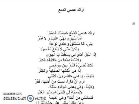 شرح درس قصيدة أراك عصي الدمع لأبي فراس الحمداني شرح وتعليق الدكتور عماد غنوم Youtube