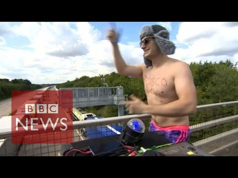 Disco Boy entertains truckers - BBC News