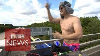 Disco Boy entertains truckers - BBC News