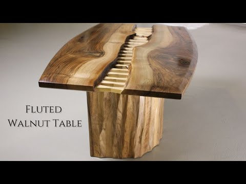 """ Stitched "" Coffee Table / Making Walnut Coffee Table w Fluted Base"