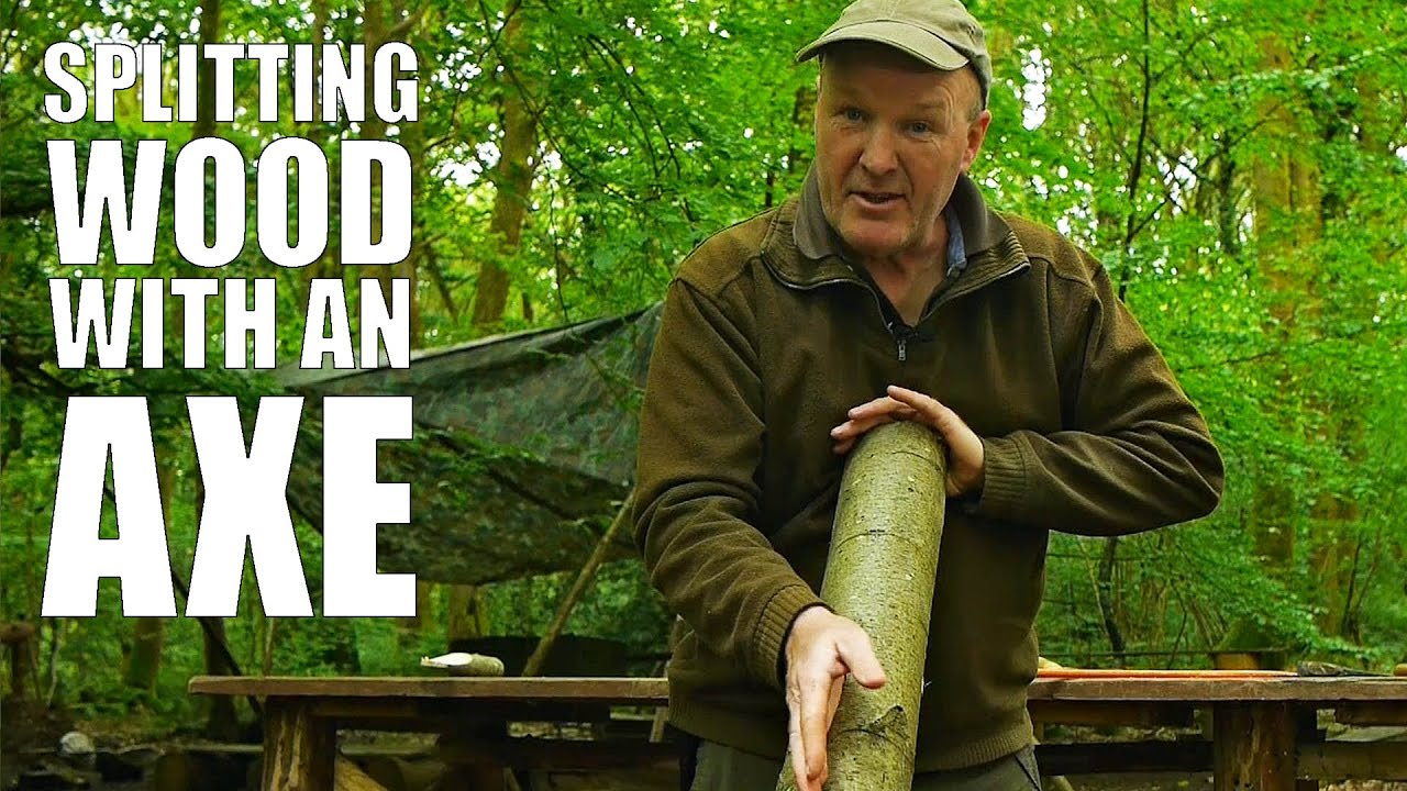 Splitting wood with an axe