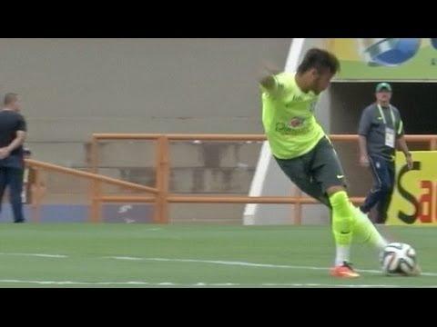 Neymar & Marcelo boating & Scoring Goals During World Cup Training