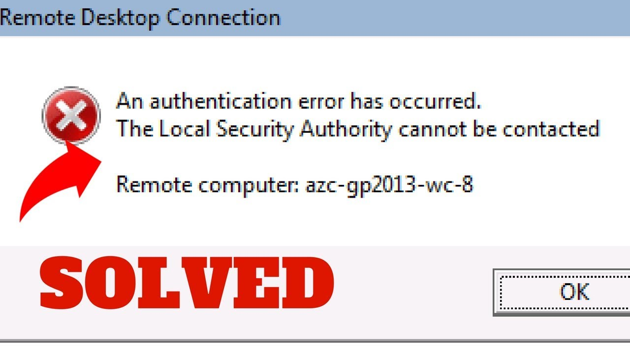 Remote Desktop An Authentication Error Has Occurred