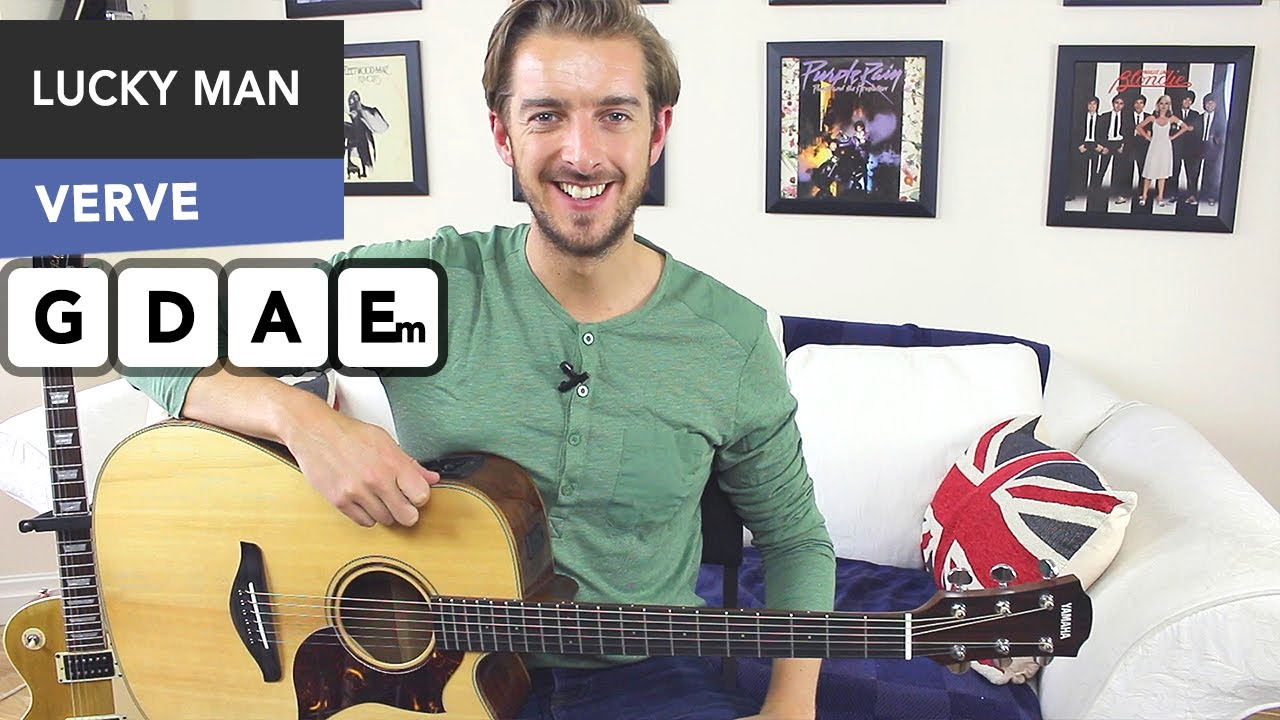 The Verve Lucky Man Guitar Lesson Easy 3 Chord Song Mainly