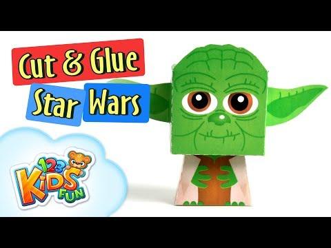 cut and glue #5 yoda from star wars - diy series for kids - 123kidsfun.com