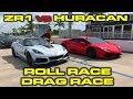 2019 755 HP Chevrolet Corvette ZR1 1/4 mile and Roll Racing vs 602 HP Lamborghini Huracan
