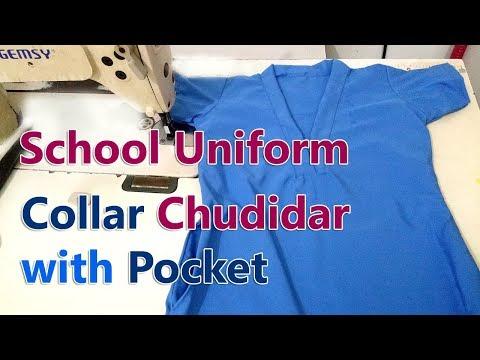 School uniform Chudidar cutting and stitching   Collar Chudidar top with pocket for girls