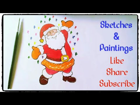 How To Draw And Paint Santa Claus Christmas Drawings Tutorials In Simple Easy Step By For Kids Sketches Paintings