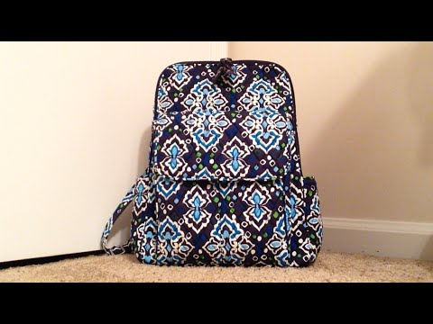 Packing Video Review for the Vera Bradley Ultimate Backpack in Ink Blue  with JuJuBe Accessories! d97af4b66428a