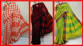 Pure Cotton Bengal Handloom Gamcha Checked Sarees Collections
