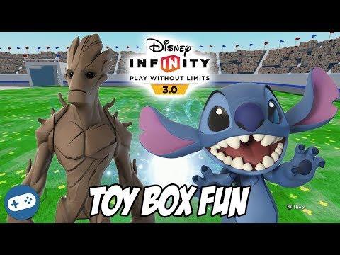 Groot and Stitch Disney Infinity 3.0 Toy Box Fun Gameplay