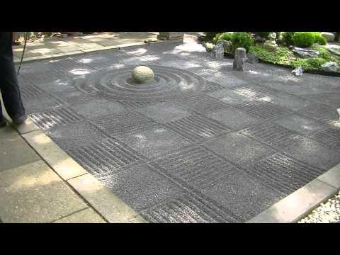Japanese Zen garden gravel raking checkers