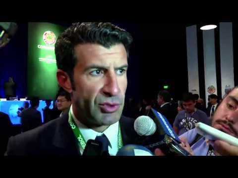 VIDEO: FIFA presidential candidates Luis Figo and Sepp Blatter speak at CONMEBOL