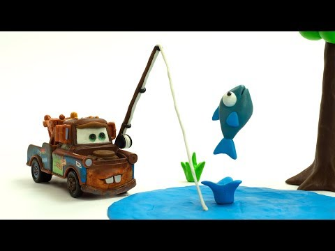 Mater Goes Fishin' & saves Lightning McQueen C A R S