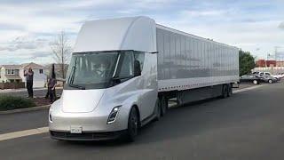 The Tesla Semi sliding by